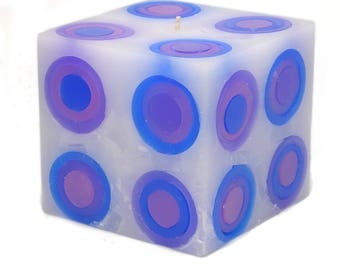 Cosmic Candles Blue Purple Pink Super Ball Square Pillar Unscented 4x4