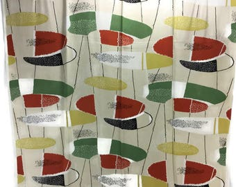 Vintage Atomic Drapery Fabric Panel * Drapery Yardage