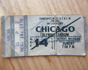 Chicago Band concert ticket stub from Detroit Olympia Stadium, 1976