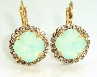 SUMMER SALE- Christmas Special ~ Mint Opal Crystal Earrings,Gift For Her, Mint  Dangle Earrings,Mint Drop Earrings, Crystal Earrings,Mint Go