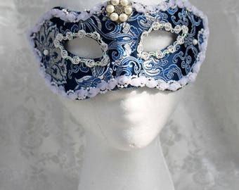 Women's Blue Brocade Masquerade Mask, Royal Blue and Silver Satin Brocade Masquerade Mask with Rosette Trim