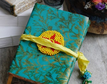 """Ethnic Art Journal with vintage beaded good luck charms, boho art journal, gift for artist, turquoise leather journal, Gul-i-Peron, 6x4"""""""