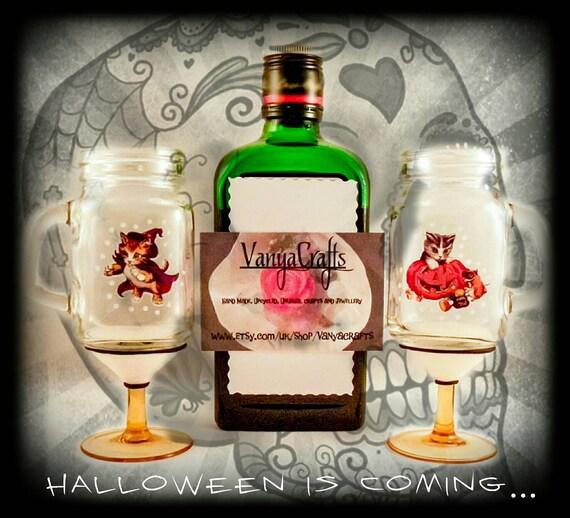 mini mason jar shot glasses on stems halloween glow in the. Black Bedroom Furniture Sets. Home Design Ideas