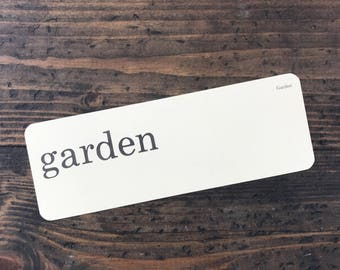 garden • vintage flash card • Dick and Jane flashcard • Allyn and Bacon word card