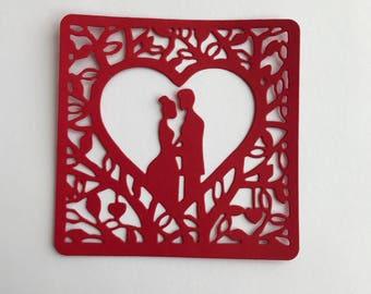 Valentine Couple Square Frame Die Cut Set of 8