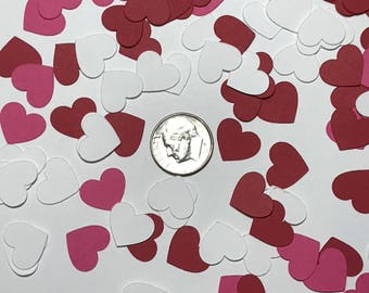 Mini Heart Confetti Pink and White and Red Set of 100 hearts