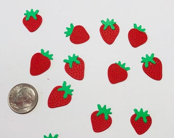 Mini Strawberry Die Cuts for scrapbooking and cardmaking Set of 18