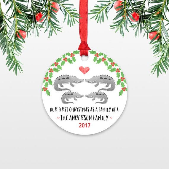 New Baby Christmas Ornament Christmas Family Ornament New Parents Our First Christmas as a Family of Four 4 Alligator Personalized Ornament