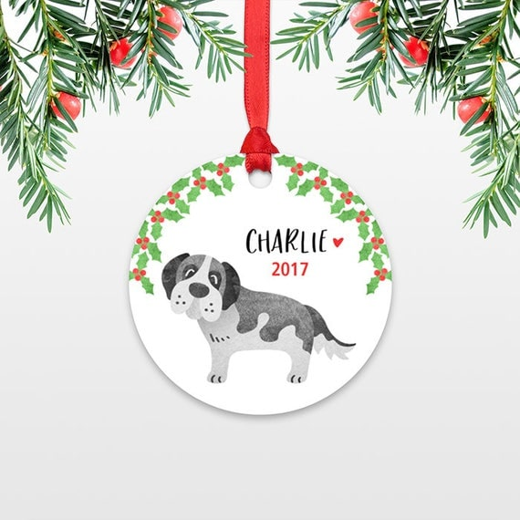 Personalized Christmas Ornament Name Christmas Ornament Kid Ornament Saint St Bernard Dog Stocking Stuffer for Him Stocking Stuffer for Her