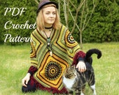 Crochet Boho Poncho for Woman with Tassels - Boho style - DIY - PDF Crochet Pattern - in English Language