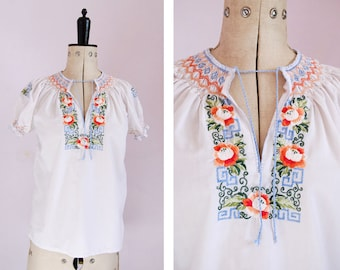 Vintage 1960s 70s Chinese embroidered peasant blouse - Peasant blouse - Embroidered blouse - Peasant top - Folk blouse - Gypsy blouse - Boho