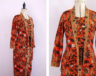 Vintage 1950s 60s 'Vogue Singapore' tribal tikki batik print souvenir skirt and jacket two piece set - Polynesian Asian Pinup Rockabilly VLV