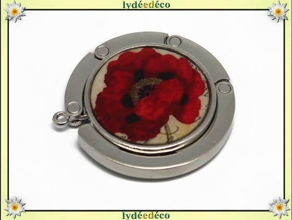 Bag retro black beige red poppy in resin on metal Silver Flower hook