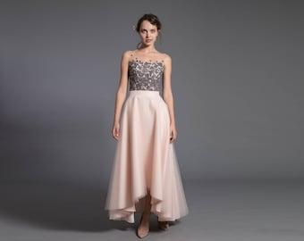 asymmetric tulle skirt - short front, long back skirt - tulle skirt with pockets - blush maxi skirt - high low skirt - bridal skirt wedding