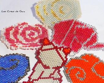 Brooch Figurine • graphic trendy accessory • beadwoven jewelry • bead weaving