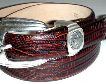 Texas State Seal buckle with brown croc embossed belt