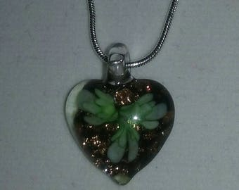 Artisan Handmade Green Flower Bronze Glitter Dichroic Lampwork Blown Glass Small Heart Pendant On Silver Plated Snake Chain Necklace Jewelry