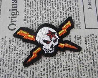 Skull Iron on Patch Embroidery Lightning Appliques
