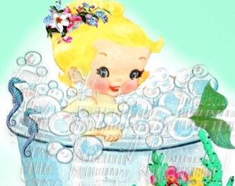 Vintage Baby Mermaid Fabric Merbaby Postcard Print Cotton Quilts Crafts Block Panel BM121
