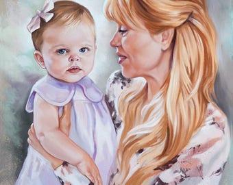 Pastel Portrait from photography. Family portrait