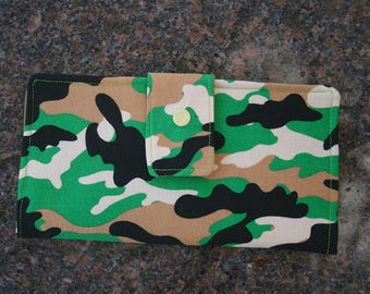 Women's Fold Over Wallet, Camouflage Cloth Wallet, Credit Card Holder, Checkbook Holder, Zippered Coin Wallet
