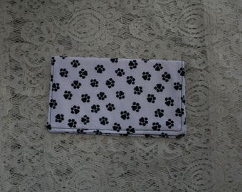 Slim Fabric Checkbook Cover, White with Black Dog Paw Prints,  Cash Wallet,