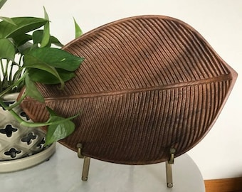 Wooden Leaf Tray, Carved Tray, Plant Tray