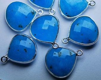 925 Sterling Silver,Peruvian Blue Opal Quartz Faceted Heart Shape Pendant Connector,5 Piece of 16mm