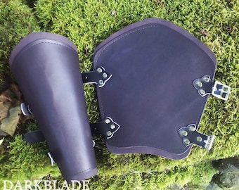 Pair Black Leather Lined Vambraces, Bracers, Arm Guards for Costume LARP and Cosplay