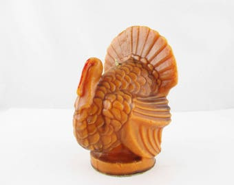 Vintage 'Gurley' Turkey Candle - Large Bright Orange 'Tom Turkey' - '40s Candle for Thanksgiving - History