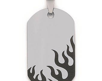 Pendant 38 x 22 mm id tag military plate steel stainless black flames pattern