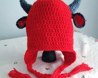 Devil Earflap Hat. Any Sizes: Newborn to Adult for the Same Price!