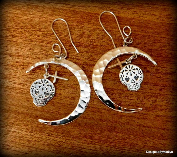 """Sterling silver """"Day of the Dead"""" skull earrings, Mexican sugar skull jewelry, celestial necklace, Day of the Dead, moon and skull"""