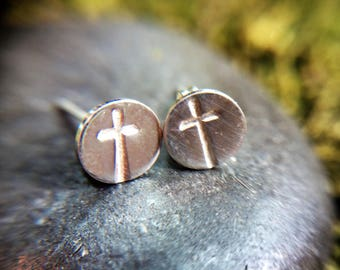 Spiritual Silver Cross Earring Studs Stamped with Crosses - Perfect for Confirmation Gifts
