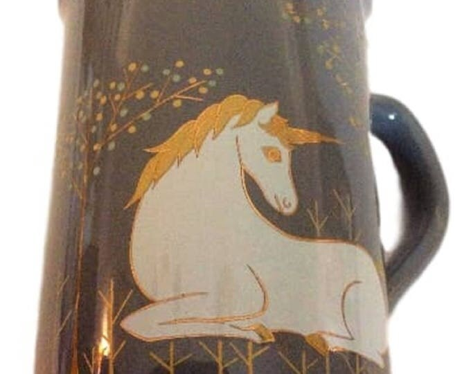 Otagiri Unicorn Coffee MUG Gray Cup, Japan, Gift For Her, Gift For Girl, Gift For Christmas