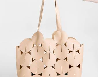 Large Tote Bag BrownVegan Leather Shoulder Bag, Non Leather Vegan Tote Bag, Summer Tote, Basket Bag, Standout Handbag, Gift For Her