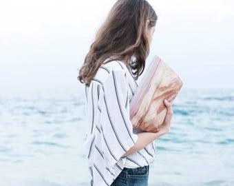 Landscape Fold Over Purse, Vegan Evening Bag, Pink Summer Bag, Minimalist Canvas Foldover Clutch Purse, Light Evening Bag, Big Zipper Pouch