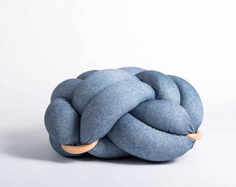 Medium knot Floor Cushion in blue jeans, Knot Floor Pillow pouf, Modern pouf, cushion, pouf ottoman, Meditation Pillow,