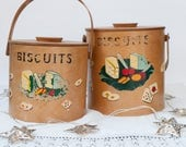 Set of two vintage wooden biscuit jars, vintage kitchen decor, twentieth century, hand painted, Shaker style