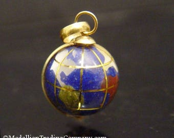 Vintage 18K Gold Lapis and Gemstone World Globe Earth Charm Spinning Pendant
