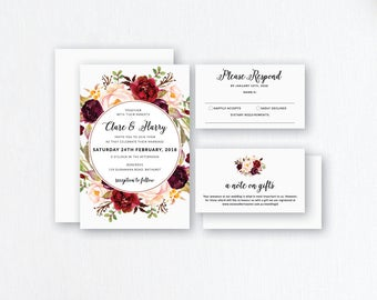 Marsala Wedding Invitations. Wedding Stationery. Burgundy Wedding Invites. Burgundy Flower Invites