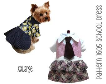 Back to School Dog Dress Sewing Pattern 1605 * XXLarge * Dog Clothes Sewing Pattern * Small Dog Dress Pattern * Dog Harness Pattern