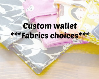 Custom wallet: fabrics choices. Customizable wallet, custom fabric wallet, large wallet custom.