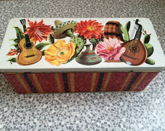 Vintage tin with cactus/Mexican design