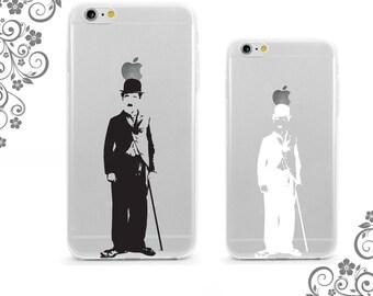 Charlie Chaplin Sketch Soft Flexible iPhone Case Clear-White iPhone 7 case,7Plus Case Galaxy S6 Case, Note5 Case iPhone 6 plus case 0475