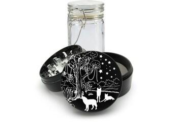 Wild Wolf Family  Laser Engraved Grinder Plus FREE Glass Jar included! 4 Piece Premium Black CNC Herb Grinder  L0285