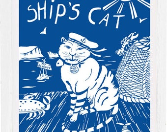Ships cat art print, signed by the artist, mounted