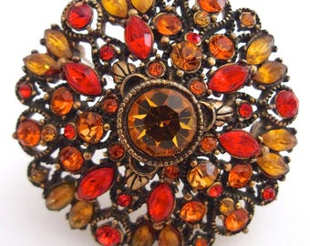 HOLLYCRAFT Orange Amber Rhinestone Brooch, Antique Gold Tone, Domed, Signed Vintage