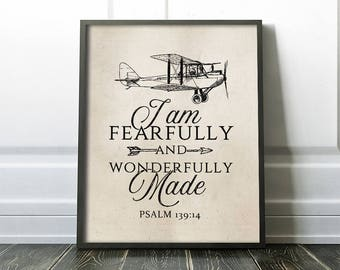 Baptism Gift - PRINTABLE Art - Bible Verse - I am Fearfully And Wonderfully Made - Plane - Inspirational Art - Scripture Quote - SKU#2889