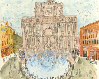 TREVI FOUNTAIN ROME Painting, Piazza di Trevi Roma, Rome Watercolor, Rome Italy Art Print, Rome Fountain Sketch, Limited Edition Art Drawing